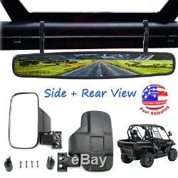 1.75 Side & Rear View Mirrors Set For Polaris Ranger RZR 800 900 1000 S 900 UTV