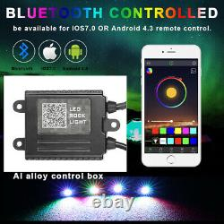 12-Pods RGB Cree LED Rock Lights Lamp Off-road Music Wireless Bluetooth Control