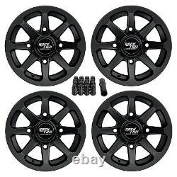 12 RockTrix RT102 12x7 4x156 ATV Wheels Rims, 4+3 offset, Includes 3/8x24 Nuts