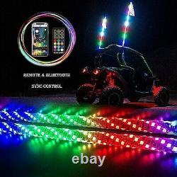 2 Bluetooth Spiral Chasing 4ft Led Lighted Whip WithFlag For ATV UTV RZR Buggy SXS