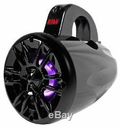 (2) Boss 4 400w LED Tower Speakers+Bluetooth Controller For Polaris RZR/ATV/UTV