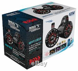 (2) Boss MRWT40RGB 4 400w LED Tower Speakers For Polaris RZR/ATV/UTV/Cart/Jeep