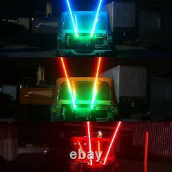2 LED Whip Lights 3 Ft And 4 LED PODS Underglow Rock Lights Strobe for Jeep ATV