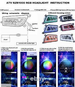 2PC RED ATV LED Headlights Halo RGB DRL For Polaris General RZR 900 900S XP 1000