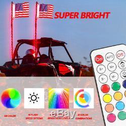 2Pc 3Ft Lighted Spiral LED Whip Antenna withFlag & Remote for ATV Polaris RZR UTV