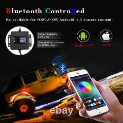 2X 3ft Lighted Spiral LED Whip Antenna withFlag + 4 Pods RGB Rock Lights ATV RZR
