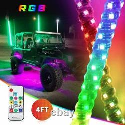 2X 4ft RGB LED Light Whip Spiral Antenna withFlag & Remote for UTV ATV RZR Can-am