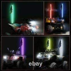 2X 5FT UTV ATV RGB Spiral LED Whip Light Dancing Chase Light with Flag Pole Remote