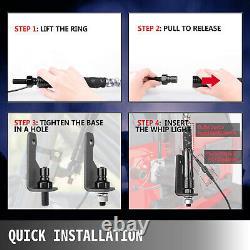 2X5ft Spiral LED Whip Lights Antenna Flag Remote Control for ATV Polaris RZR UTV