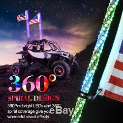2x 3ft Lighted Spiral LED Whip Antenna withFlag & Remote for ATV Polaris RZR UTV