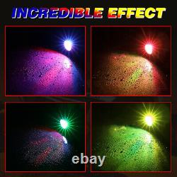 2x 3ft Spiral LED Whip Light Antenna+ 4 Pods RGB Rock Lights For ATV RZR Can-Am