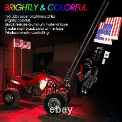 2x 5ft LED Whip Light Antenna WithFlag Mount UTV ATV for Can Am Buggy Polaris RZR