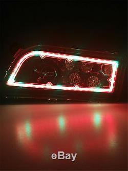 2x Black UTV ATV LED Headlights RGB Halo Angel eye For Polaris RZR XP 4 1000 900