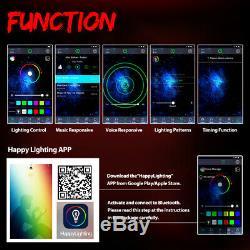 2x Bluetooth 4FT Dream Color RGB LED Whip Light Chasing Brake withFlag For ATV UTV