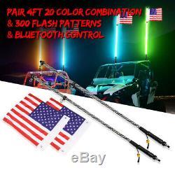 2x UTV 4FT RGB LED Light Whip CREE Spiral Antenna Bluetooth Brake Signal Chasing