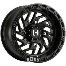 4-Hostile H116 Jigsaw UTV 15x10 4x156 +0mm Satin Black Wheels Rims 15 Inch