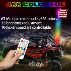 4 Pods RGB Rock Lights Bluetooth+ Pair 4ft RGB LED Whip Lights Antenna Flag ATV