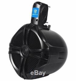 4 Rockville 8 Black Marine Wakeboard Tower Speakers for Polaris RZR/ATV/UTV