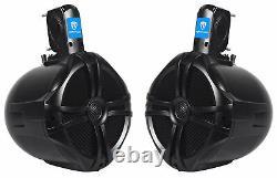 4 Rockville RWB80B 8 Tower Speakers+4-Channel Amplifier for Polaris RZR/ATV/UTV