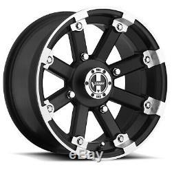 4-Vision 393 Lockout ATV/UTV 12x8 4x110 -10mm Black/Machined Wheels Rims 12 Inch