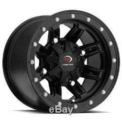 4-Vision 550 ATV/UTV 12x8 4x110 -10mm Matte Black Wheels Rims 12 Inch