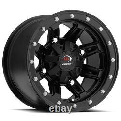 4-Vision 550 ATV/UTV 14x7 4x156 Matte Black Wheels Rims 14 Inch