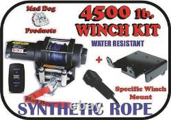 4500lb Mad Dog Synthetic Winch/Mount Kit for 2014-2020 Polaris RZR 1000 XP