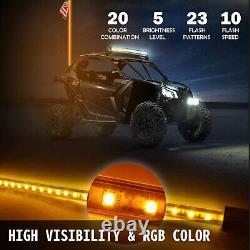 4ft 2pcs LED Whip Lights Lighted Whips for UTV RGB Color Led CB Antenna Off-road