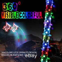 4ft Lighted Spiral RGB LED Whip Lights Antenna ATV RZR + 4 Pods RGB Rock Lights