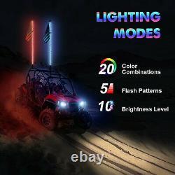 4ft RGB LED Lighted Antenna Light Whip Flag Pole For ATV UTV RZR Off Road Buggy