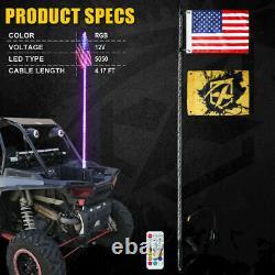 6ft RGB Spiral Lighted Antenna LED Whip Light Flag Remote for ATV Polaris RZR