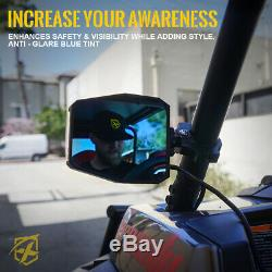 ATV UTV Rear Side Mirrors with LED Spot Lights Blue Anti-Glare for 1.5-2.5 Bars
