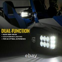Aluminium UTV Side View Mirrors with LED Spot Lights 1.6-2 Roll Bar Cage Polaris