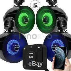 Bluetooth LED Waterproof ATV UTV RZR Polaris 4 Speakers Stereo Audio Amp System