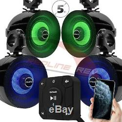 Bluetooth Waterproof ATV UTV RZR Polaris 4 Speakers Stereo Audio System USB AUX