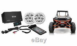 Boss Audio 4 Channel 500W Bluetooth Amp+6.5 Speakers for Polaris RZR/ATV/UTV