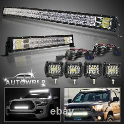 Curved 50 LED Light Bar+22+4 Pods Roof Driving For Truck Ford GMC SUV 4WD 52
