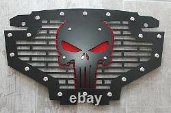 Custom Steel SKULL Grille Emblem with Red Accent for Polaris RZR 800/900 ATV
