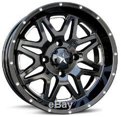 MSA Black Vibe 14 UTV Wheels 30 MotoClaw Tires Polaris RZR 1000 XP