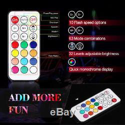 Pair 3ft RGB Spiral CREE LED Whip Lights Antenna Chase + Flag&Remote for ATV UTV