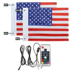 Pair 4FT LED Whip Lights Antenna Flag Spiral withFlag Remote Control for ATV UTV