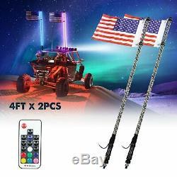 Pair 4FT Lighted Spiral LED Whip Antenna withFlag & Remote For ATV Polaris RZR UTV
