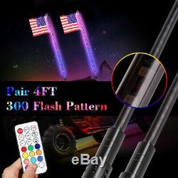 Pair 4ft Lighted LED Whip Lights Antenna with Remote&Flag For UTV ATV Polaris RZR