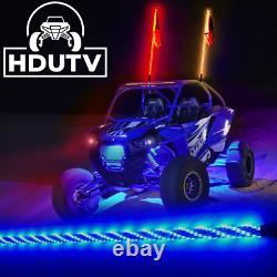 Pair 4ft RGB LED Light Whip Spiral Antenna withFlag & Remote for RZR Can-am UTV