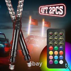 Pair 4ft Spiral LED Whip Light Antenna with Flag & Remote for UTV ATV Polaris RZR