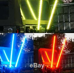Pair 5FT Lighted Spiral LED Whip Antenna 2 Flag Remote For ATV Polaris RZR UTV