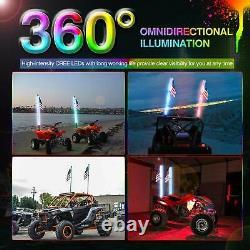 Pair 5ft RGB Spiral LED Whip Light Antenna Flag UTV ATV Can Am Polaris RZR 1000