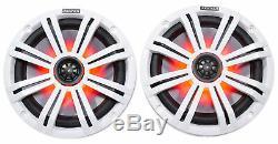 Pair Kicker KM8 8 600 Watt LED Tower Speakers For Polaris RZR/ATV/UTV/Cart/Jeep