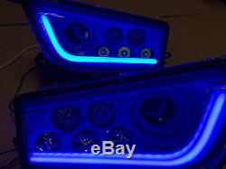 Polaris Rzr Xp 1000 & Turbo Black & Blue Angel Eye Led Headlights Kit
