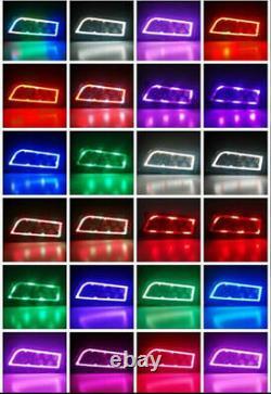 RGB Halo Led Headlights For 2014-18 Polaris RZR 1000 XP & Turbo RZR 900 S Black